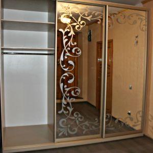 Зеркальный шкаф-купе с пескоструйным рисунком 2