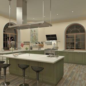 3D проект большой кухни - вид из угла