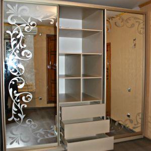 Зеркальный шкаф-купе с пескоструйным рисунком 4