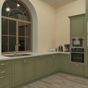 3D проект большой кухни - рабочая зона с окном