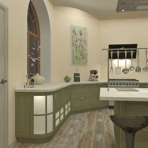 3D проект большой кухни - вид от двери