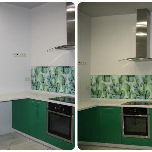 Зеленая кухня с фартуком Скинали