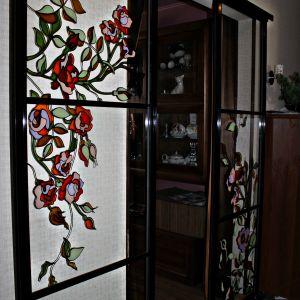 Раздвижные двери с витражом 4