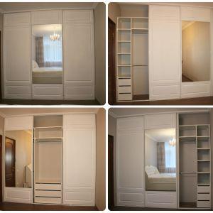 Белый шкаф-купе с фрезеровкой 5
