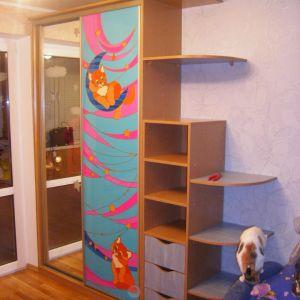 Детский шкаф-купе с комодом и полками (фотопечать кошки)