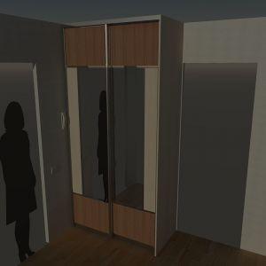 Шкаф встроенный (вид с вертикальной вставкой)