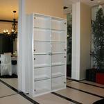 Распашной шкаф, МДФ крашеный (матовый) со стеклянными полками и дверцами [3]