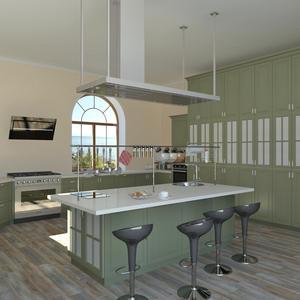 3D проект большой кухни - естественное освещение